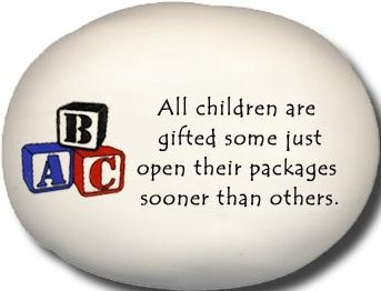 August Ceramics 8177A Blocks All children are gifted Mini Rock