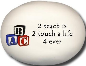 August Ceramics 8177B Blocks 2 teach is 2 touch a life 4 ever Mini Rock