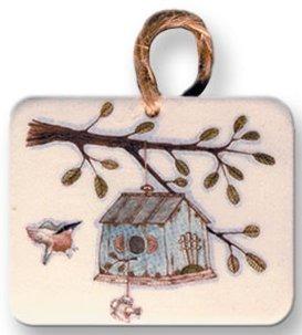 August Ceramics 9010 Birdhouse Ornament