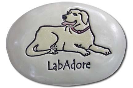 August Ceramics R265Y Yellow Lab LabADore Labrador Retriever Rock