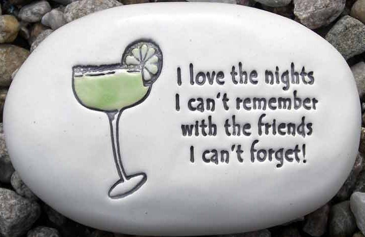 August Ceramics R303 I love the nights with margarita glass Rock