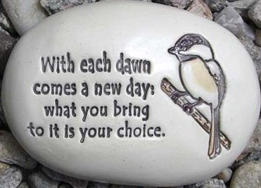 August Ceramics R330 With each day comes a new dawn with chikadee artwork Rock