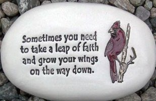 August Ceramics R331 Sometimes you just need to take a leap of faith with cardinal artwork Rock