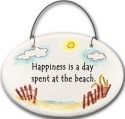 August Ceramics 2130C Beach fence Happiness is A Day spent at the beach Mini Disk