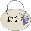 August Ceramics 2140D Angel with star Season's Greetings Mini Disk
