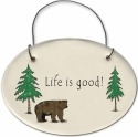 August Ceramics 2155A Bear - Life is good Mini Disk