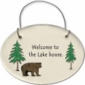 August Ceramics 2155C Bear - Welcome to the Lake house Mini Disk