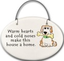 August Ceramics 2158G Dog Warm hearts and cold noses Mini Disk
