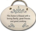 August Ceramics 4098D Scroll This home is blessed with a loving family Oval Plaque