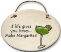 August Ceramics 4102H Margarita glassIf life gives you limes Oval Plaque