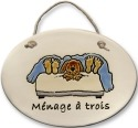 August Ceramics 4122A Dog in bed Menage a Trois Oval Plaque