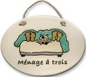 August Ceramics 4123A Cat in bed Menage a Trois Oval Plaque