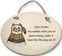 August Ceramics 4139B Southwestern Cat Cat's Motto Oval Plaque