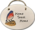 August Ceramics 4153A Blue Bird Home tweet home Oval Plaque
