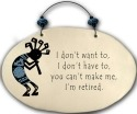 August Ceramics 4552C Kokopelli - I Don't want to I Don't have to Beaded Plaque