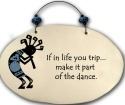 August Ceramics 4552F Kokopelli - If in life you trip Beaded Plaque