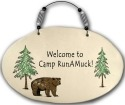 August Ceramics 4555D Bear - Welcome to camp Runamuck Beaded Plaque