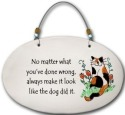 August Ceramics 4559A Cat No matter what you;ve done wrong Beaded Plaque