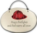 August Ceramics 4571C Fireman hat - Hug a firefighter Beaded Plaque
