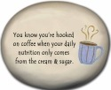 August Ceramics 8123B Coffee Cup You know You're hooked cream & sugar Mini Rock