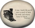 August Ceramics 8170C Train - A man travels the world over Mini Rock