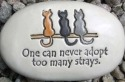 August Ceramics R267 One can never adopt too many strays with cat artwork Rock