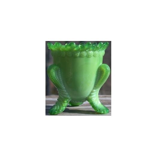 Boyd's Crystal Art Glass BYDFMNAppleGreen Forget me Not Toothpick Holder Apple Green Broken
