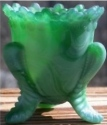 Special Sale BYDFMNShamrockStn Boyd's Crystal Art Glass FMN Forget me Not Toothpick Holder Shamrock Satin