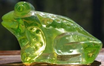 Boyd's Crystal Art Glass BYDJFVaseline Boyd Glass JF Jeremy Frog Vaseline #1 Made