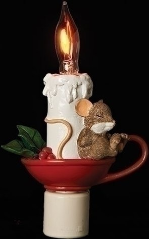 Charming Tails 130441 Sleeping Mouse Night Light Candle