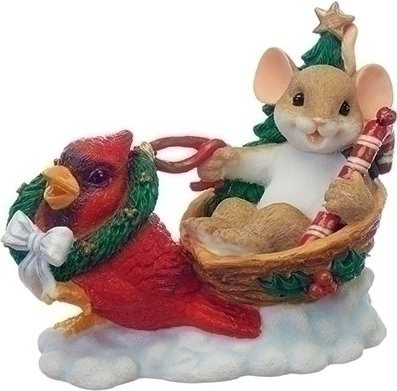 Charming Tails 130443 Mouse in Sleigh with Cardinal