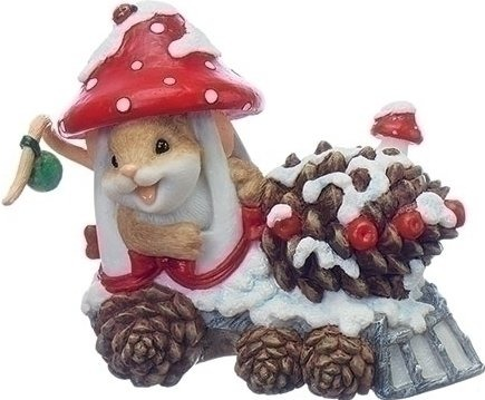 Charming Tails 130446 Mouse in Mushroom Train