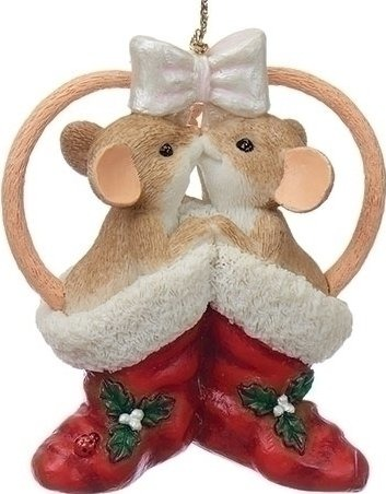 Charming Tails 130447 Mice in Christmas Stockings Ornament