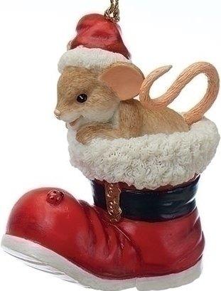 Charming Tails 130449 Santa Boot 25th Anniversary Ornament