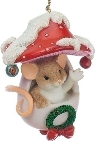 Charming Tails 130451 Mouse in Mushroom Ornament