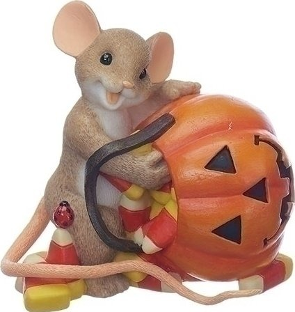 Charming Tails 130454 Candy Corn With Pumpkin Mouse