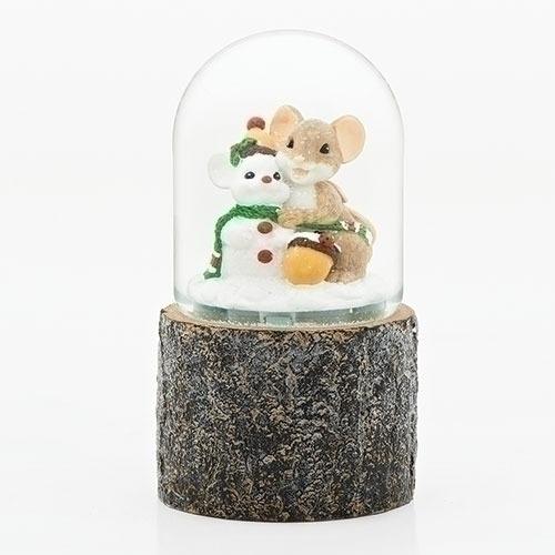 Charming Tails 131123 Mice Snowblow Glitterdome