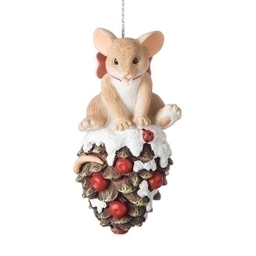 Charming Tails 131631 Mouse On Pinecone Ornament