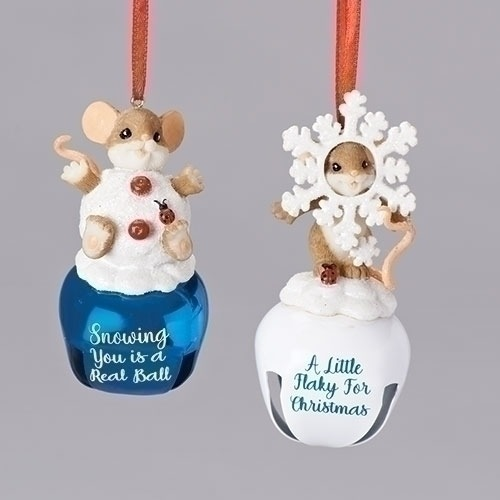 Charming Tails 131637 Mouse Snowflake and Snowball Set of 4