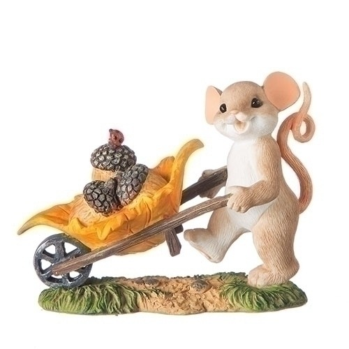 Charming Tails 131644 Mouse With Wheelbarrow Figurine