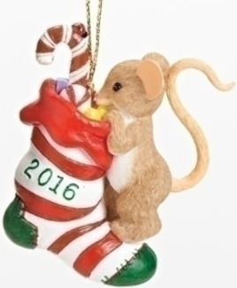 Charming Tails 30379 Annual Ornament Mouse Stocking