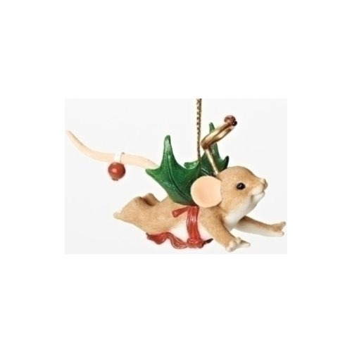 Charming Tails 30381 Mouse w Holly Wings Ornament