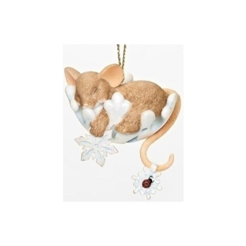 Charming Tails 30383 Mouse On Snowflake Ornament