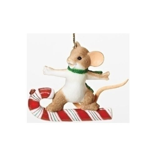 Charming Tails 30386 Mouse On Candy Cane Ornament