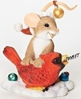 Charming Tails 30398 Mouse Tweeting Bird Fig