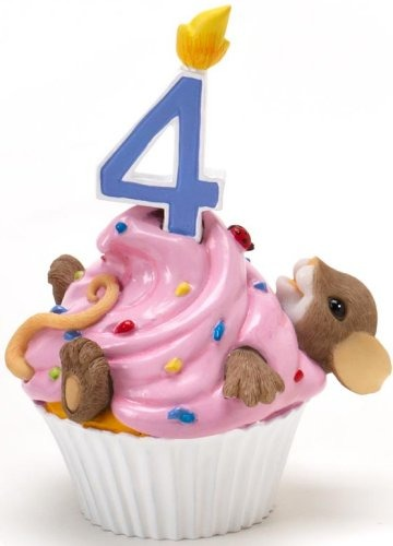 Charming Tails 4020634 Mouse Birthday 4 Cupcake Figurine