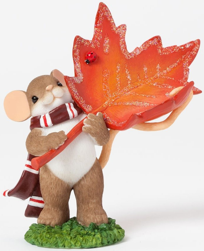 Charming Tails 4041167 Holding Maple Leaf