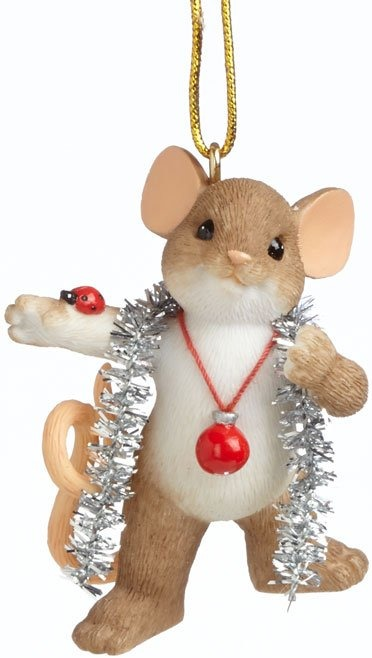 Charming Tails 4041175 Wrapped In Tinsel Ornament
