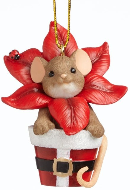 Charming Tails 4041176 Poinsettia Planter Ornament