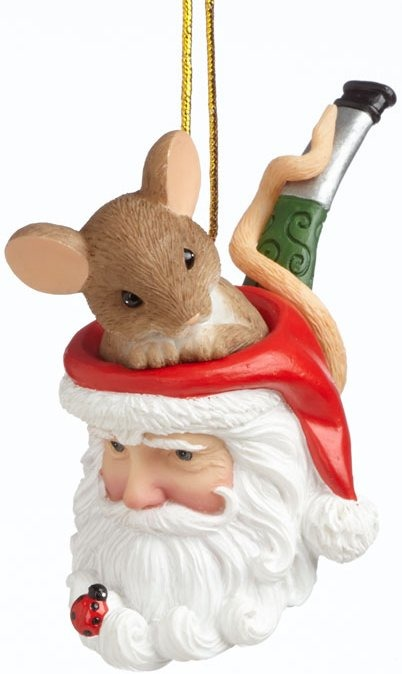 Charming Tails 4041177 Sitting In Santa Pipe Ornament